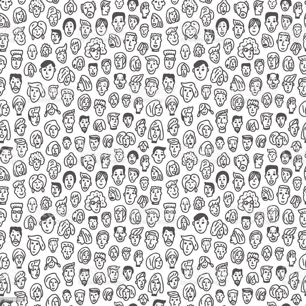 faces of people - seamless background vector art illustration