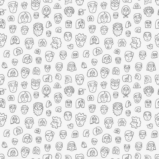 faces of people - seamless background,pencil drawings - illustration - old man crying stock illustrations, clip art, cartoons, & icons