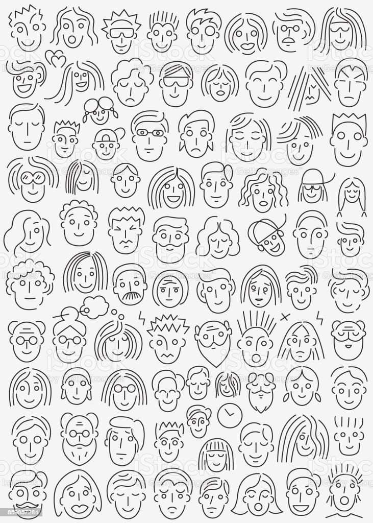 faces of people -  thin line icon set vector art illustration