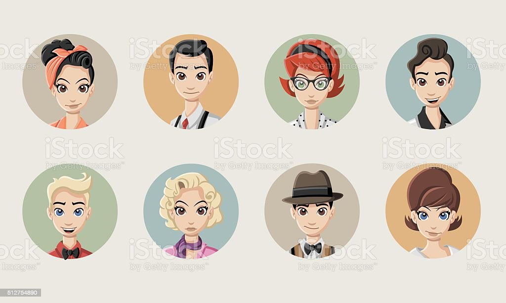Faces of retro people vector art illustration