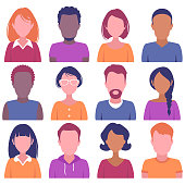 Faces of different nation men and women isolated on a white background.