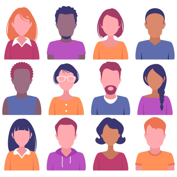 faces of various people - diversity stock illustrations