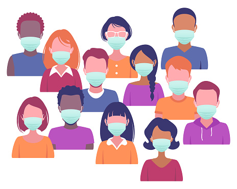Faces of various people wearing surgical masks
