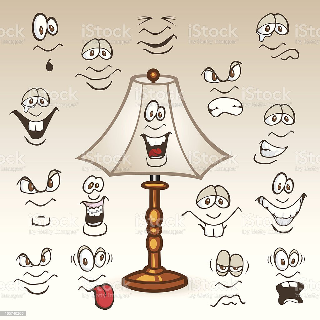 Faces on a Lamp Shade royalty-free faces on a lamp shade stock vector art & more images of anger