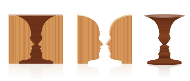 Faces vase optical illusion. Wooden textured 3d figure-ground perception. In psychology known as identifying figure from background. Vector illustration over white. vector art illustration
