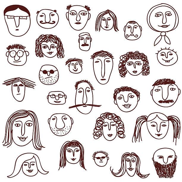 stockillustraties, clipart, cartoons en iconen met faces - kaal geschoren hoofd