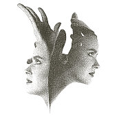 Silhouette mezzotint illustration of faces with hands reaching up to sky.
