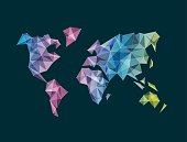 Abstract facet multicolor vector World Map isolated on dark blue background. Perfect layered EPS 10 file with multi transparency. Easy to recolor by shifting the gradient at only one object.