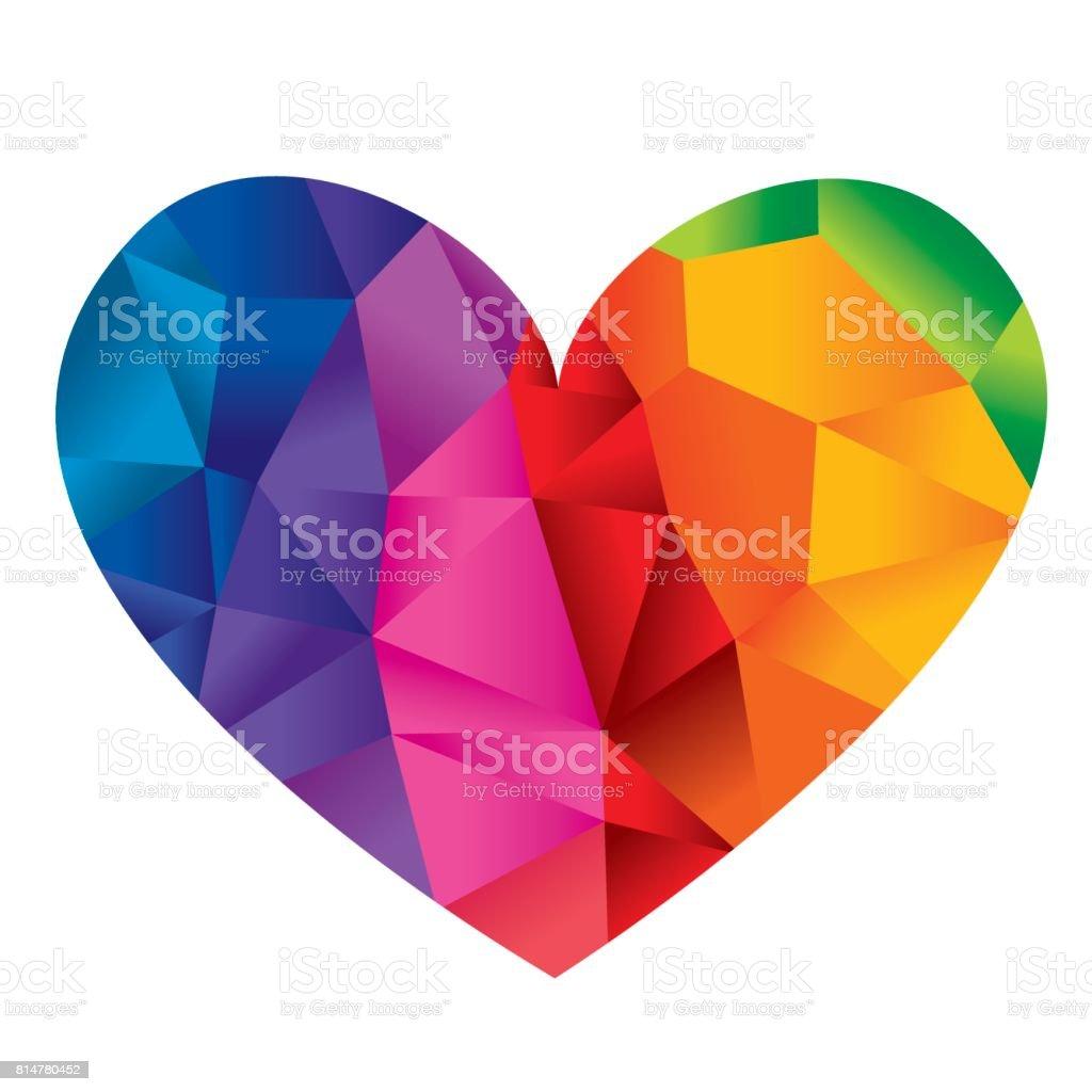 Faceted heart vector art illustration