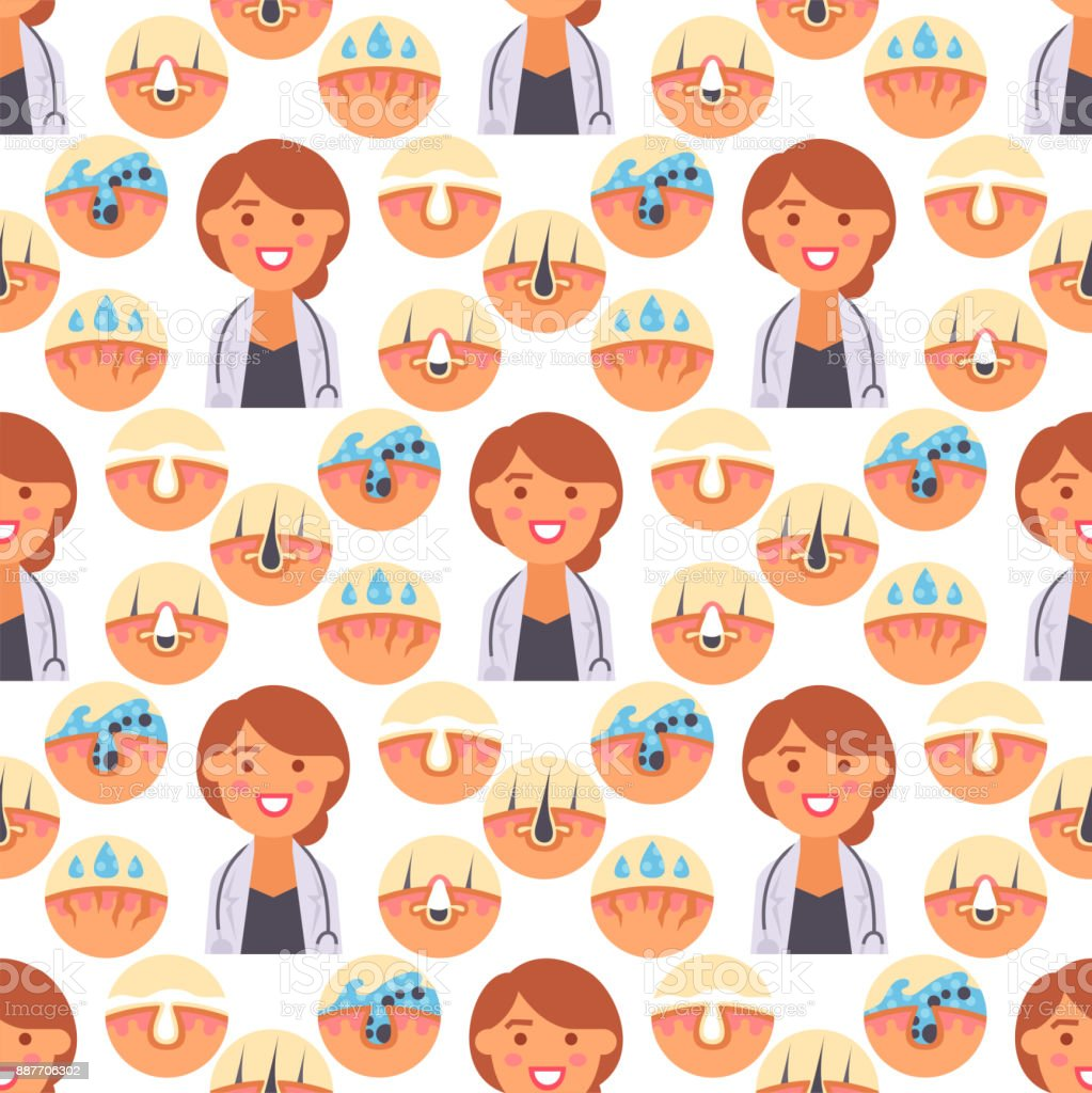 Facial care skin problems clean humancosmetic pimple dermatology instability facial care teenager defects seamless pattern background vector illustration vector art illustration