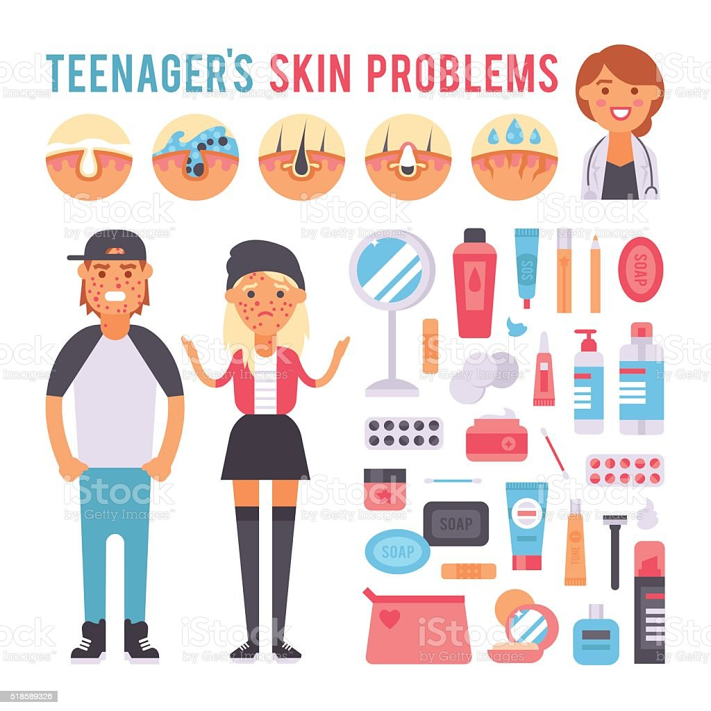 Facial care teenager people defects skin problems infographic elements vector