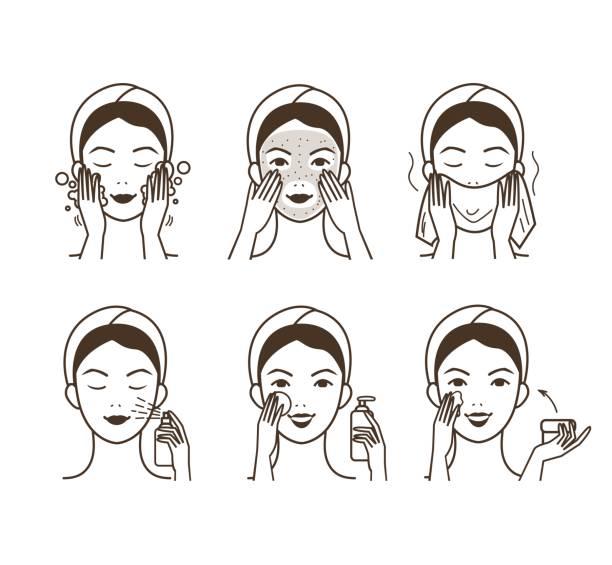 ilustraciones, imágenes clip art, dibujos animados e iconos de stock de tratamiento facial - dermatología
