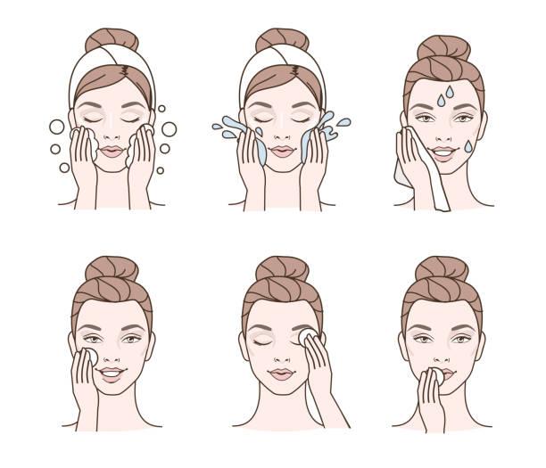 stockillustraties, clipart, cartoons en iconen met gezichtsbehandeling reiniging - vrouw schoonmaken