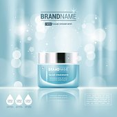 Facial cream glass jar realistic vector illustration isolated on blue bokeh background. Cosmetic ad mock up template for sale poster design