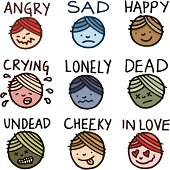 Facial emotion icon doodle set