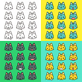 Cute characters vector art illustration. Facial expression (Emoticons) collection of cute cat. include outline, black and white, multi colored.