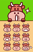 Cute characters vector art illustration. Facial expression (Emoticons) collection of cute cattle.