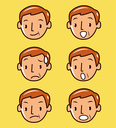 Facial expression (Emoticons) collection of mid-adult men