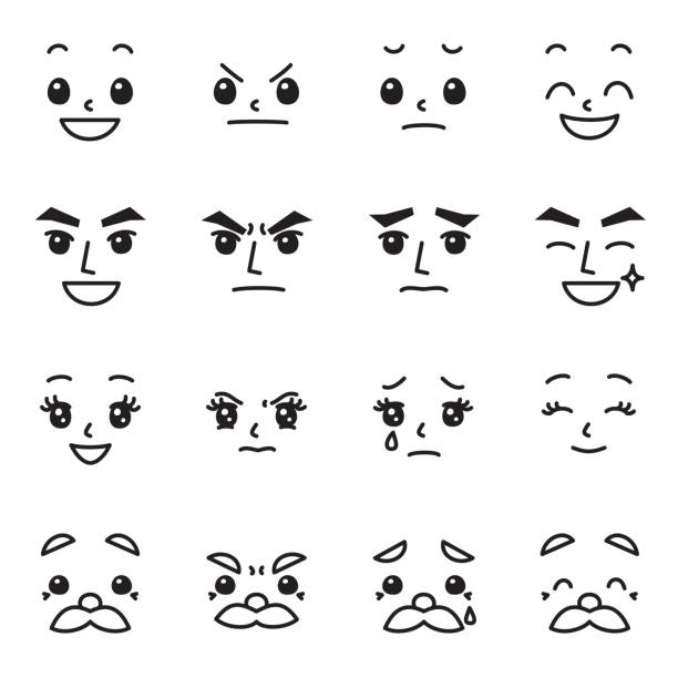 facial expression emotions set 02 - old man crying cartoon stock illustrations, clip art, cartoons, & icons