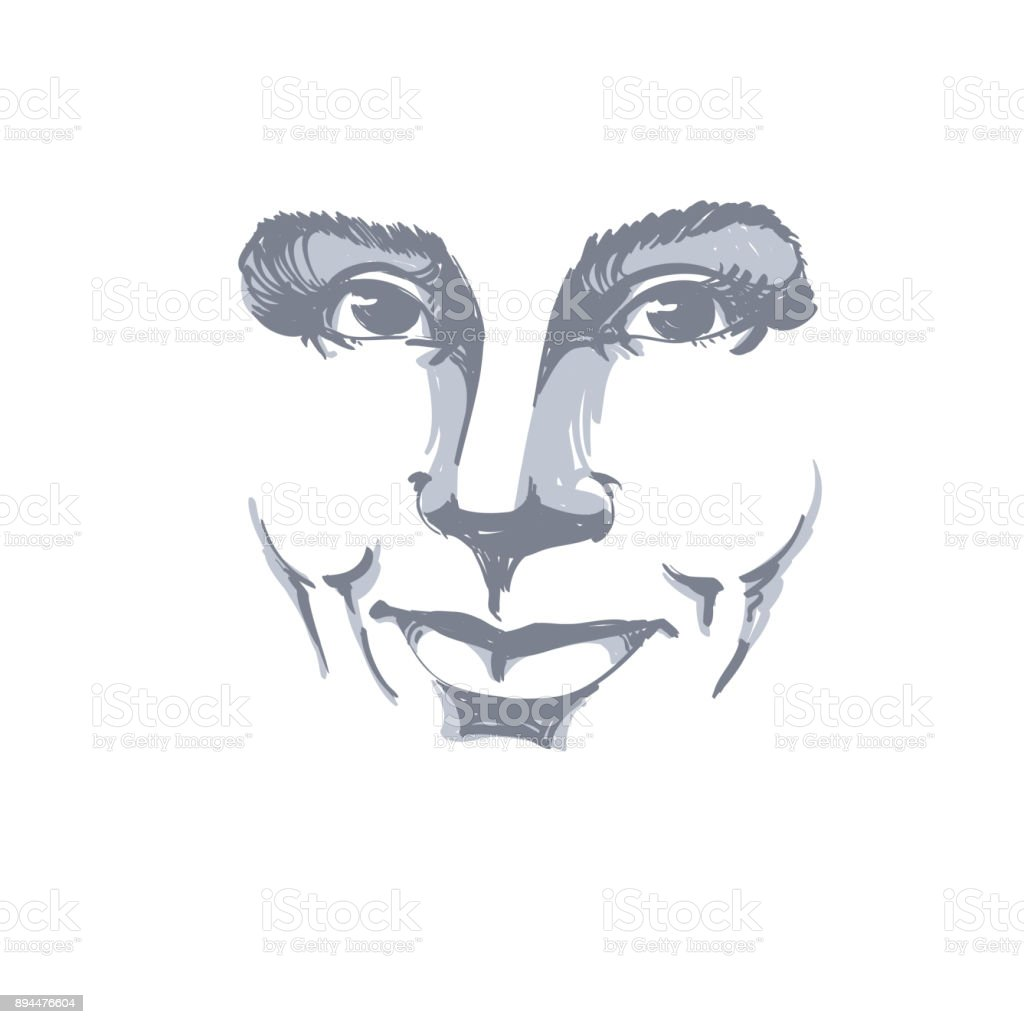 Illustration Visage facial expression handdrawn illustration of face of a smiling girl