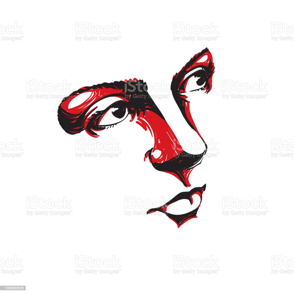 Facial Expression Handdrawn Illustration Of Face Of Romantic