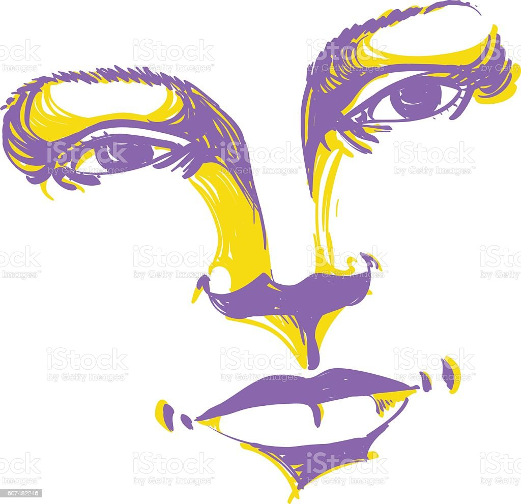 表情手書きのイラストの女性の顔 1人のベクターアート素材や画像を多数