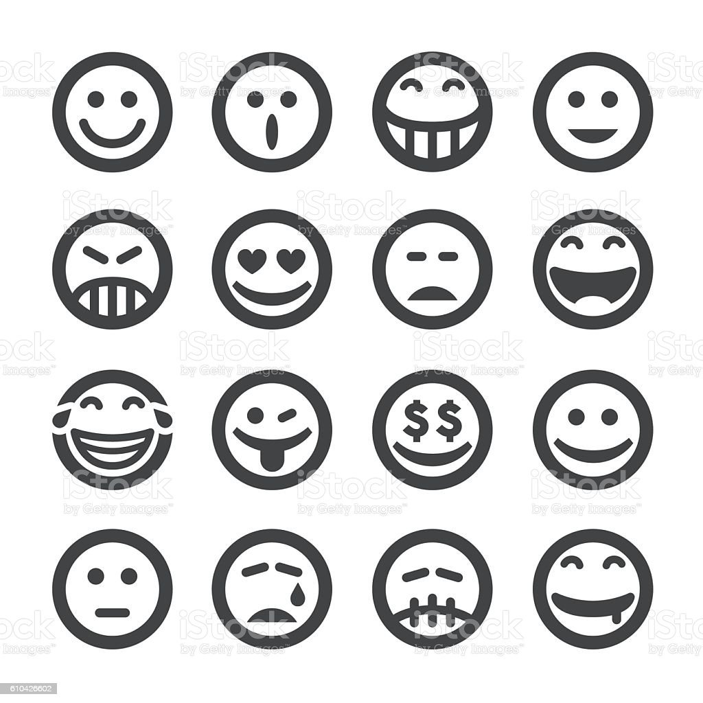 Facial Expression Icons - Acme Series - ilustración de arte vectorial