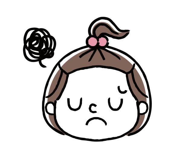Facial expression of a girl: disappointed, worrying Facial expression of a girl: disappointed, worrying 悩む stock illustrations