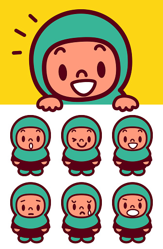 Facial expression (Emoticons) of cute Muslim girl wearing a Hijab holding a blank sign