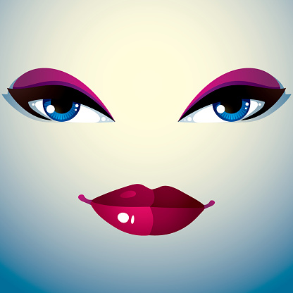 Facial expression of young pretty woman. Coquette lady visage,
