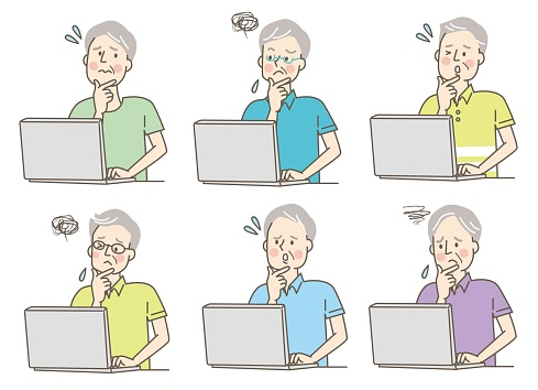 Facial expression set of a senior man working on a personal computer