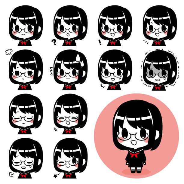 学校制服を着た女の子の表情セット ベクターアートイラスト