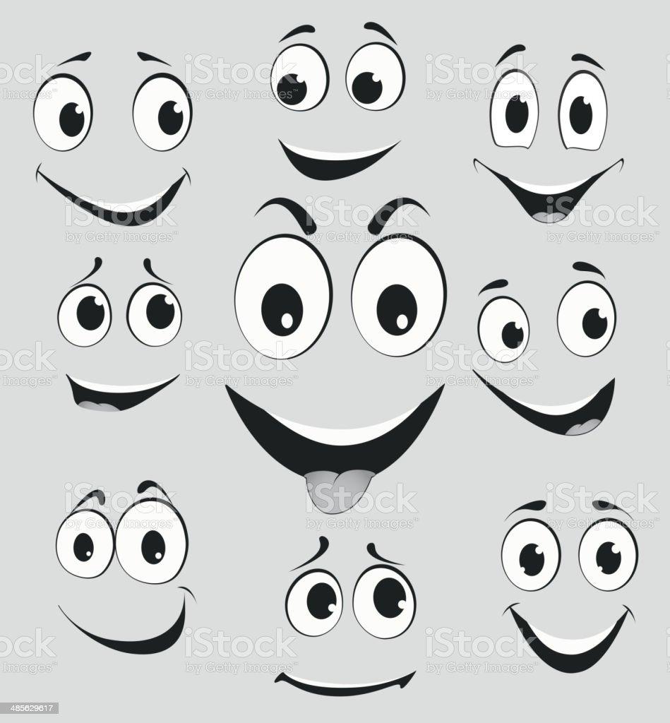 Ilustración De Facial Expresiones Faciales De Dibujos Animados