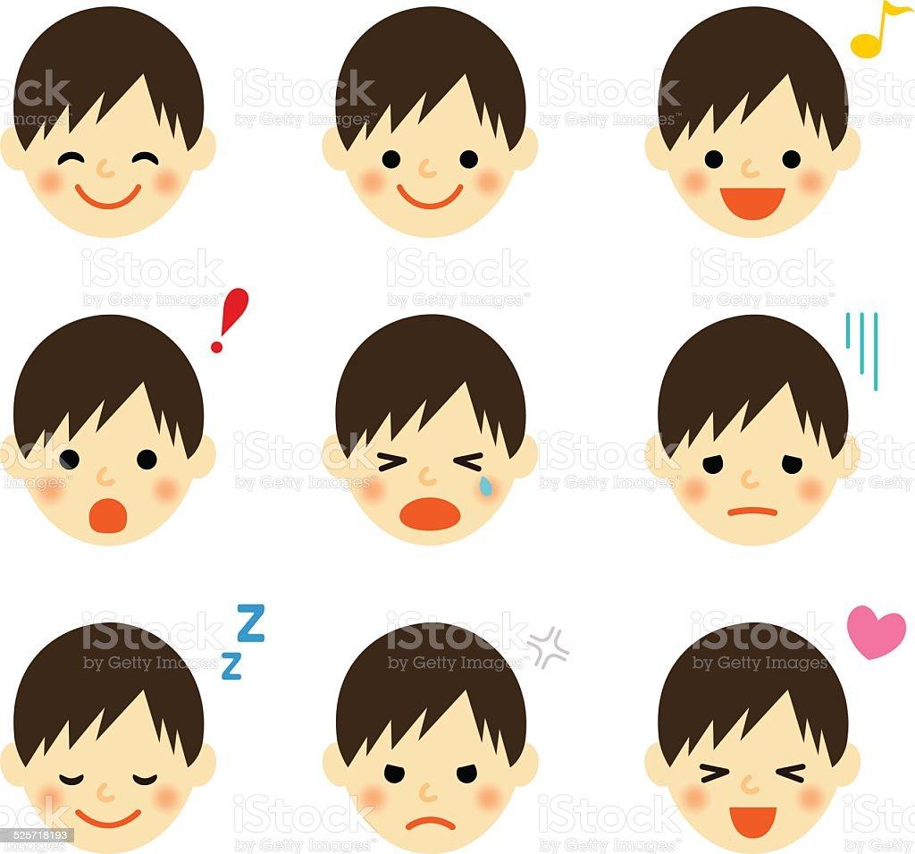 Facial expressions of boy vector art illustration
