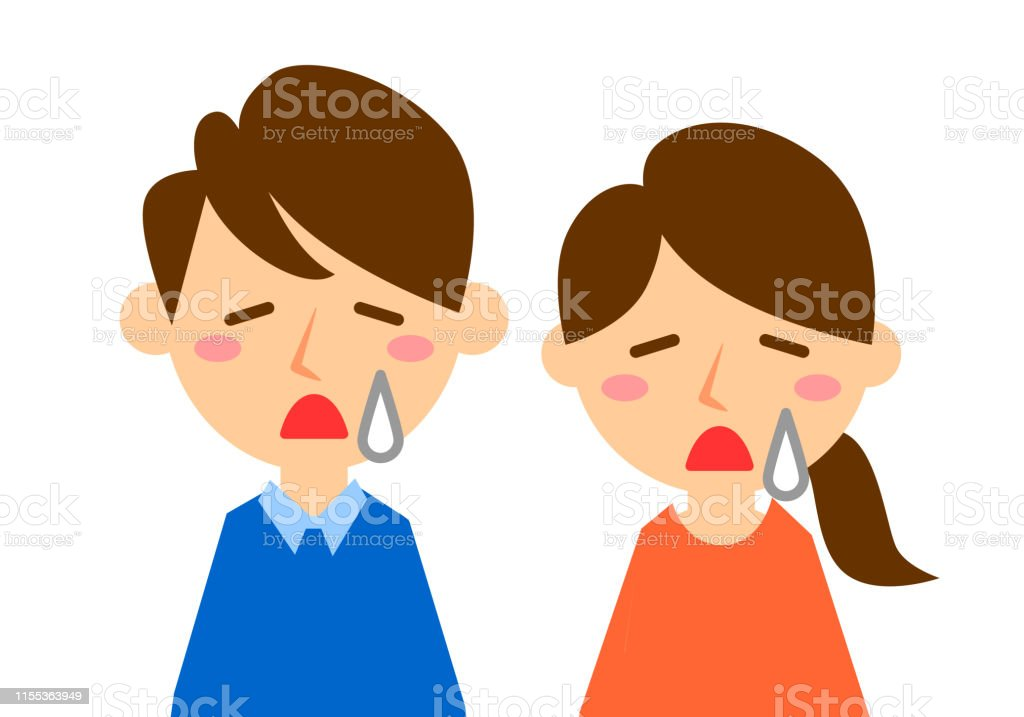 Facial expressions of sad. Upper body of man and woman. Vector...
