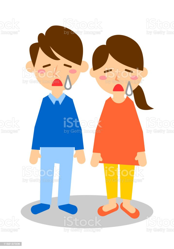 Facial expressions of sad. Whole body of man and woman. Vector...