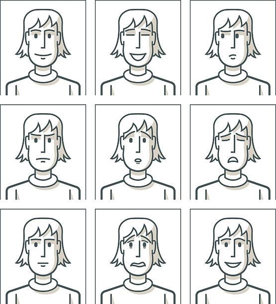Line Drawings Of Facial Expressions : Royalty free looking at camera clip art vector images
