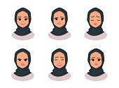Set Smiling girl in hijab.Facial expressions Young Arabic business woman wearing hijab. Arabian Woman Face Covered with Hijab. Vector illustration isolated from white background
