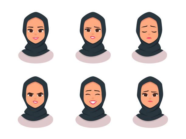面部表情年輕的阿拉伯商業婦女戴頭巾 - emirati woman 幅插畫檔、美工圖案、卡通及圖標