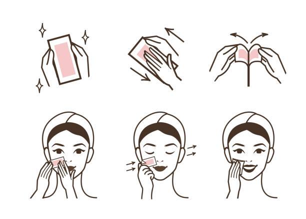 ilustrações, clipart, desenhos animados e ícones de remoção de pelos faciais - limpando rosto