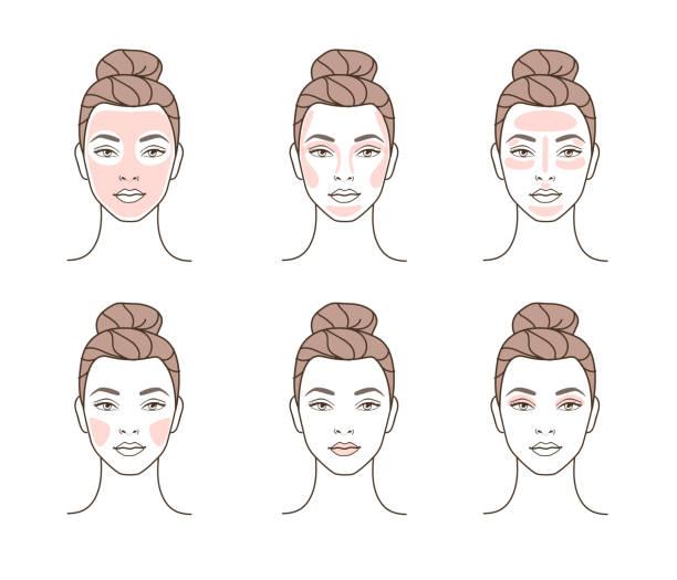 facial make up - antropomorficzna twarz stock illustrations