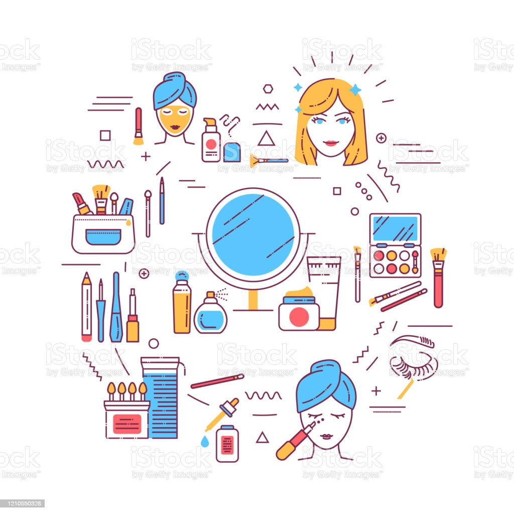 Facial Makeup Web Banner Cosmetic Products Feminine Skincare Infographics With Linear Icons On White Background Creative Idea Concept Isolated Outline Color Illustration Stock Illustration Download Image Now Istock