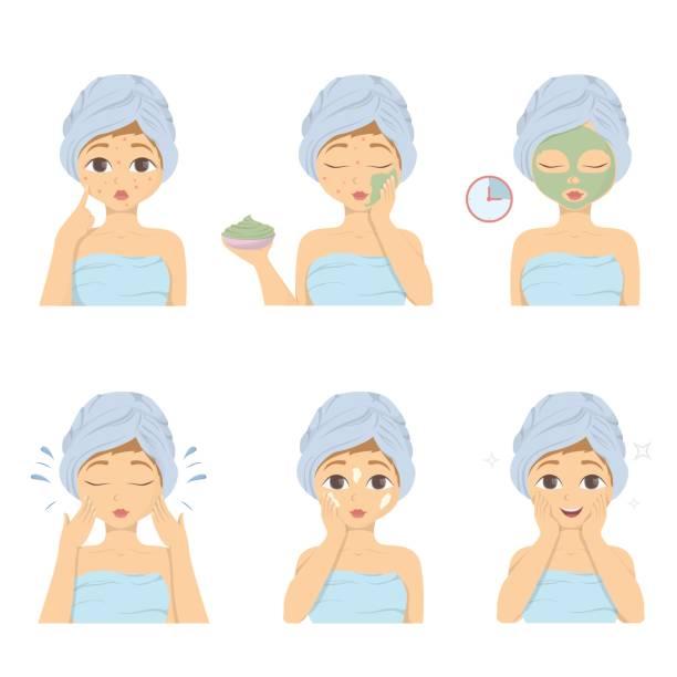 Facial mask applying set. vector art illustration
