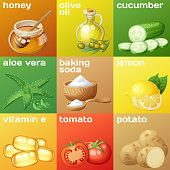 Facial mask ingredients for home face skin care. Cartoon vector food icons set. Natural cosmetic illustration with vivid colored backround