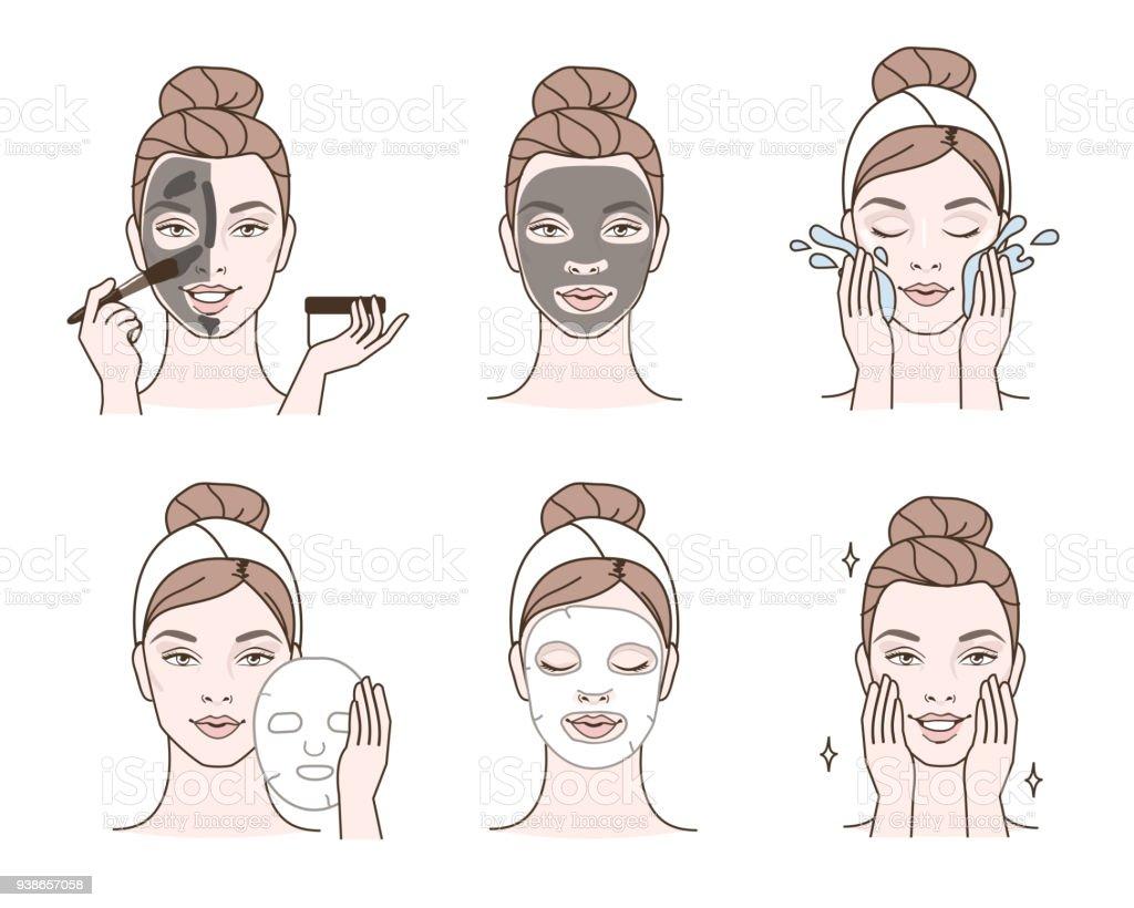 Gezichts maskers - Royalty-free Aanbrengen vectorkunst