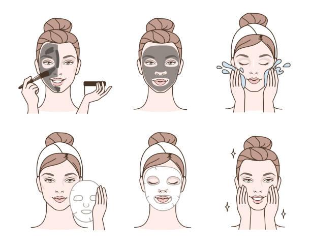 stockillustraties, clipart, cartoons en iconen met gezichts maskers - vrouw schoonmaken