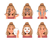 Steps how to apply facial mask. Flat style vector illustration isolated  on white background.