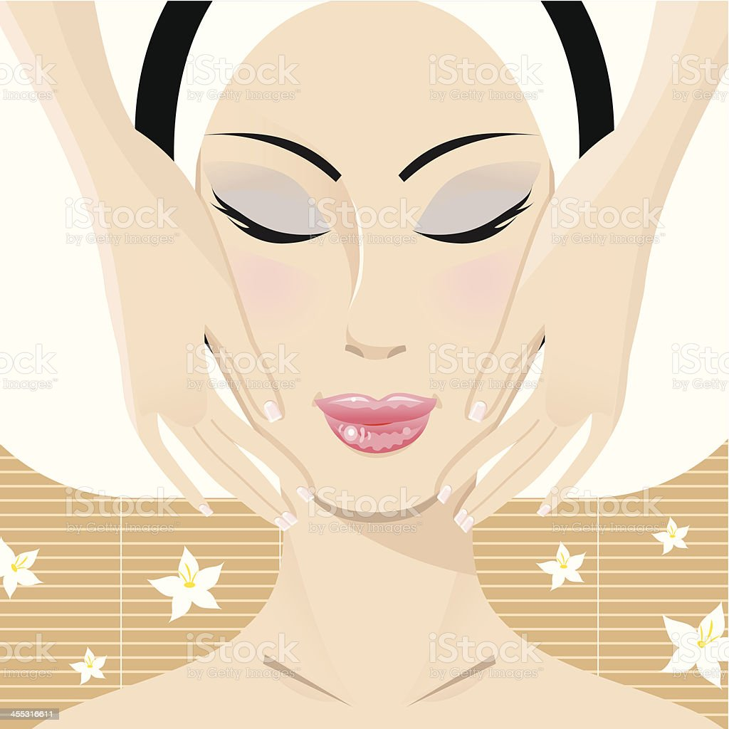 Facial Massage vector art illustration