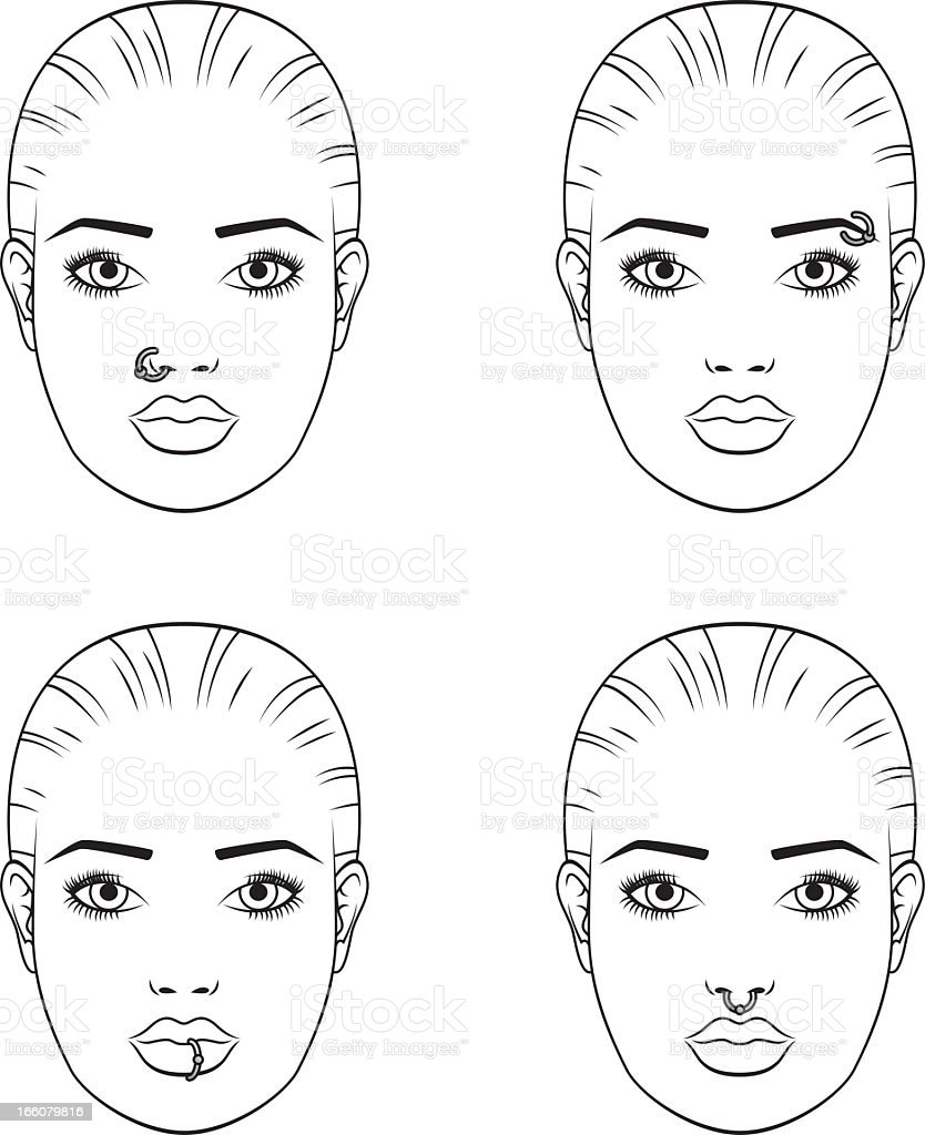 Facial Piercings: Female royalty-free stock vector art