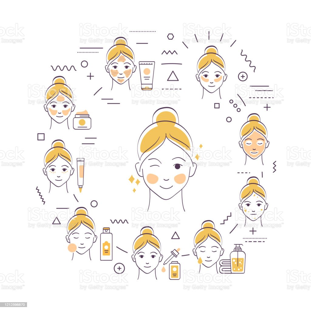 Facial Procedures Web Banner Female Skin Care Cleansing Toning Moisturizing Infographics With Linear Icons On Beige Background Creative Idea Concept Stock Illustration Download Image Now Istock